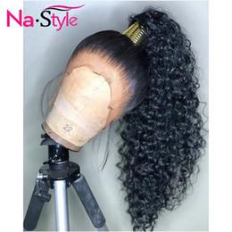 длинный естественный вьющийся парик Скидка HD Прозрачных Невидимый парик шнурка 360 Lace Фронтального человек парики волос Curly Длинных Preplucked отбеленных узлов Natural перуанского Remy SH190928