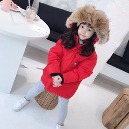 Roupas brancas para crianças pequenas on-line-Crianças lobo casaco de pele de inverno da criança jaqueta meninos meninas casacos das crianças de algodão roupas quentes para baixo casaco meninos hoodies tops