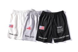 2019 banderas americanas cortos Pantalones cortos al por mayor Pantalón Corto Hommes Heron Preston X NASA Co-branded Bandera Americana Bordado Astronauta Pantalones cortos Pantalones cortos de diseñador banderas americanas cortos baratos