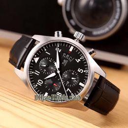 reloj de piloto negro para hombre Rebajas Barato Nuevo Pilot's Montre d'Aviateur IW371701 Negro Dial Automático Reloj para hombre Fecha 43 mm Correa de cuero Hombre Deporte Caballeros Relojes hello_watch