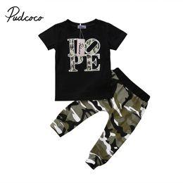 2018 Brand New Toddler Infant Child Kid Baby Boy Abiti in cotone Top T Shirt Pantaloni lunghi mimetici Abiti manica corta 2 pezzi Set 1-5 T supplier long sleeve camo t shirts da magliette maniche lunghe in camo fornitori