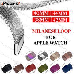 tela de bandera de nylon Rebajas banda de acero inoxidable Pulsera de lazo Milanese Para Apple Seguir serie 1/2/3 correa de pulsera 42 mm 38 mm 44 mm para la serie iWatch 4 40mm