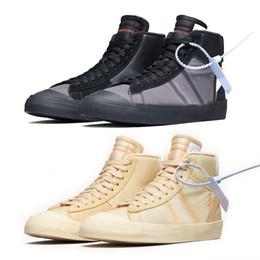 2019 mediados de corte zapatos para correr Con caja 2018 Blazer Shoes Zapatillas de deporte medias Zapatillas deportivas de baloncesto Ror Hombres Mujeres Arroz blanco negro Zapato de skate