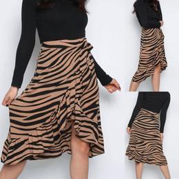 Tierdruck fliege online-Womens Ladies High Fashion Krawatte Bogen Animal Print Rüschensaum Rüschenwickel Midirock # 4M03 Maxirock Sommer Slim Fit Hot