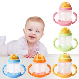 280ml Cute Baby Cup Bambini Bambini Impara a bere acqua potabile Maniglia a scaldavivande mamadeira Sippy Training Cup Baby Feeding da