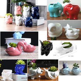 vasi di ceramica animale Sconti 16 stili fioriera in ceramica vaso da fiori per denti di animali volpe gufo maiale casa e ufficio desktop decorazione di finestre per matrimonio natale HH9-2277