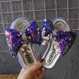 2019 purpurina zapatos bebé niña KissMud 2019 Summer Baby Fashion Fashion Glitter Zapatillas Kids New Soft Zapatillas antideslizantes Niños Púrpura Bowtie House Shoes rebajas purpurina zapatos bebé niña