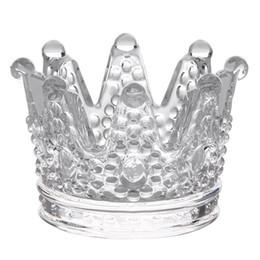 2019 stands de boda baratos Candelabros de cristal lindos y creativos Candelabro de cristal de corona transparente transparente para decoraciones de bodas en el hogar Favores de fiesta
