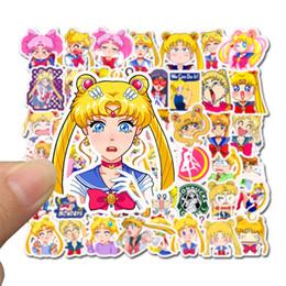 miroir de lune Promotion 50 pcs / lot autocollant de voiture Sailor Moon de bande dessinée Anime pour ordinateur portable Skateboard Pad Vélo Moto PS4 Téléphone Bagages Decal Pvc guitare autocollants