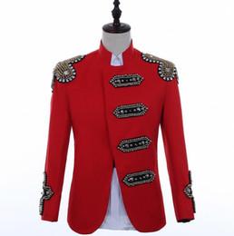 Trajes de rock on-line-Hip hop blazer homens ternos projetos jaqueta mens stage trajes para cantores roupas dance star estilo vestido de punk rock masculino vermelho