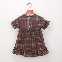 Lista de crianças on-line-ISHOWTIENDA Criança Criança Bebê Menina Roupas de Manga Curta Xadrez Festa Pageant Princesa Vestido de Moda listagem de roupas para crianças cc