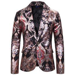 esmoquin para hombre xxl Rebajas Los cantantes Negro rojo de Paisley Imprimir Tuxedo chaqueta de la chaqueta Slim Fit solo botón Hombres Partido Blazer etapa de la danza de los hombres del traje del Hombre XXL