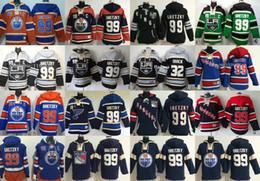 roi personnalisé Promotion Mens Oilers Rangers St. Blis Blues Los Angeles Kings LA 99 Wayne Gretzky 32 Jonathan Quick Sweat à capuche noir personnalisé