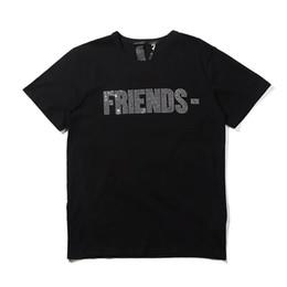 Freunde logos online-Vlone Womens T-Shirt T-Shirts Hip Hop Damen Tops Vlone Friends Baumwolle Kurzarm Big V Logo Damen Herren T-Shirt