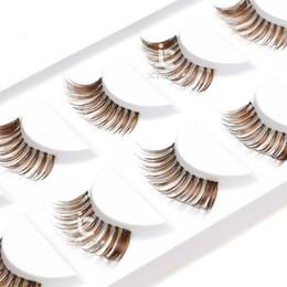 Cílios marrons on-line-2019 Maquiagem Brown Cílios Postiços Natural Mini Meio Canto 5 Pares Cometic Set Eye Lashes