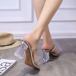 2019 sandalia de tacon simple para mujer Summer Open Toe Elegante Simple Transparente Antideslizante Sandalias Chunkly Heel 8.5cm Casual Crystal High Heel Mujer Zapatillas sandalia de tacon simple para mujer baratos