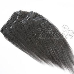 clips indiens chauds Promotion Vierge Brésilienne Naturelle Noire 100 Cheveux Humains 22clips 120g 200g Kinky Clip Droit Dans Les Extensions De Cheveux Pour Les Femmes Noires