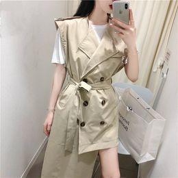 ärmelloser graben Rabatt MYDC Frauen Casual Solid Color Zweireiher Outwear Ärmellose Schärpen Office Coat Chic Design Asymmetric Long Trench
