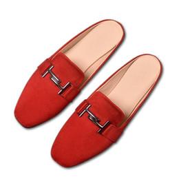2019 chaussures élégantes à talons bas noir Nouvelle glissière d'automne pour femme élégantes en daim noir pantoufles à talon bas grande taille 32-43 femmes femmes mules chaussures sandales d'été chaussures élégantes à talons bas noir pas cher
