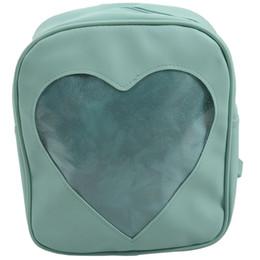 Argentina Mochilas transparentes Candy Mochilas escolares transparentes Love Heart para niñas adolescentes Bolso monedero (verde) supplier backpack clear Suministro