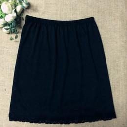 Schwarzer kurzer unterrock online-Frauen-Taillen-Beleg-Dame Black White Short Underskirt Weiche und bequeme Baumwolllänge 40cm Petticoat-halbe Beleg-neues Yyy9381