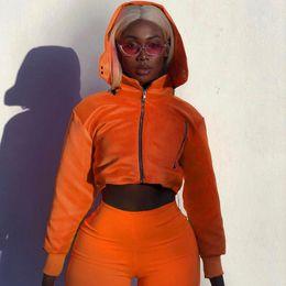 Laranja feche acima o revestimento on-line-outono e inverno cortada casaco com capuz bombardeiro casaco zip up fluorescência streetwear laranja curto outerwear mulheres