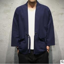 Argentina 2019 Free Sinicism Store Chaqueta para hombre Abrigo Kimono de verano Chaqueta de punto Abrigo Japón Vintage Windbreaker con cinturón Chaquetas masculinas ropa cheap mens kimono xl Suministro