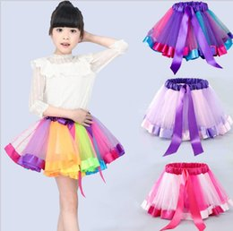 2019 robe courte Kid Girls Summer Rainbow Dresses Princess Girl Halloween Festival Party Tutu Dress Pour Bébés Filles 0-8 ans