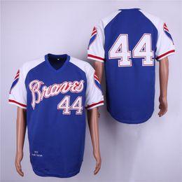 2019 jersey de béisbol de franela Hombres # 44 Hank Aaron mn 1974 Turn Back azul rojo blanco gris Jerseys de béisbol cosidos de Atlanta