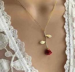 Bijoux rose délicat en Ligne-Nouveaux bijoux créatif goutte délicate Red Rose Collier avec pendentif pour cadeau de Saint Valentin de petite amie