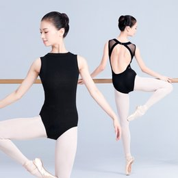dança leotard feminino Desconto Sexy preto bodysuits mulheres sem mangas ballet collant adulto yoga macacão feminino prática de ginástica desgaste roupas dança dc1241