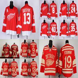 2019 camisa de ala vermelha yzerman Detroit Red Wings 13 Pavel Datsyuk 40 ZETTERB 19 Steve Yzerman 71 Dylan Larkin 9 Howe Red Camisas de hóquei desconto camisa de ala vermelha yzerman