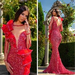 nancy ajram vestidos Desconto Aso Ebi 2019 Árabe Red Sparkly sereia Sexy Vestidos Sheer Neck mangas compridas Prom vestidos de lantejoulas formal do partido Segundo Vestidos