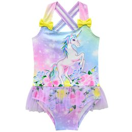2019 unicas unicórnio Unicórnio Crianças Swimwear lace floral Meninas Swimsuit doce De Uma peça Meninas Swimwear Crianças Ternos de Banho Criança Conjuntos Beachwear A4556 desconto unicas unicórnio
