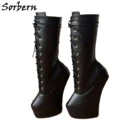 c484498cecbd9a schwarze schwere stiefel Rabatt Sorbern Schwere Hufsohle Mid Calf Boots  Damen Heelless Boots Damen Custom Wide