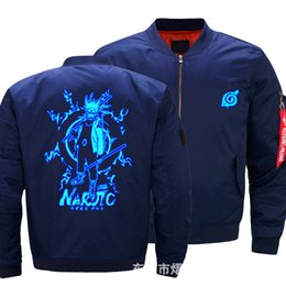 naruto uzumaki jacket Promo Codes - Uzumaki Naruto Printed Luminous Coat Bomber Jacket Baseball Windbreaker Zipper Sweatshirt Sportswear Top Cosplay Costume