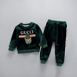 Costumes d'hiver pour garçons en Ligne-BABY BOYS GIRLS vêtements + pantalons haute qualité automne et hiver costume épaississement ans bébé or sculpté cachemire bébé vêtements pour enfants