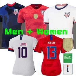 Camisetas de futebol dos eua on-line-4 estrelas 2020 World cup América menina Soccer Jersey Lavelle shirt campeão EUA mulheres homem LLOYD RAPINOE KRIEGER Camisola de Futebol Feminino 19 20