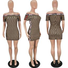 833b7a7364b592 2019 abbigliamento alla moda delle donne Trendy F Lettera Stampa Abito donna  Estate manica corta Off