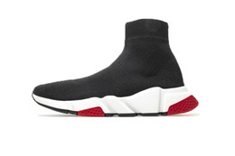 red socks fashion Coupons - Designer Sneakers Speed Trainer Black Red Gypsophila Triple Black Fashion Flat Sock Boots Casual Shoes Speed Trainer Runner With Dust Bag