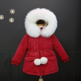 Cintura di cotone rosso online-Nuovi Bambini Giacche invernali Ragazze Capispalla colletto in pelliccia sintetica con cappuccio cappotti caldi termica Cotton Parka con Army Green Belt Red Z01
