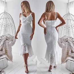 2020 Yeni Ucuz Küçük Beyaz Yüksek Düşük Kısa Balo Parti Elbiseler sapanlar Spagetti Tam Dantel Mermaid Yaz Plaj Kokteyl Kadınlar Nedensel Elbise cheap hi low prom dresses white nereden merhaba düşük balo elbiseleri beyaz tedarikçiler