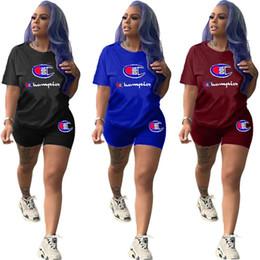 Deportes campeones online-Campeones de las mujeres camiseta de manga corta + Shorts Chándal Traje de verano CHAMP Impresión de letras 2 piezas de ropa deportiva Casual Jogger Traje deportivo