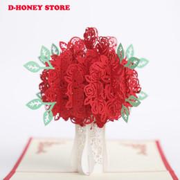 Feliz Aniversário Cartão Postal Cartões de Presente 3D Handmade rose padrão O Dia de Valtentine Cartão de Corte A Laser Cartões de Ação de Graças de