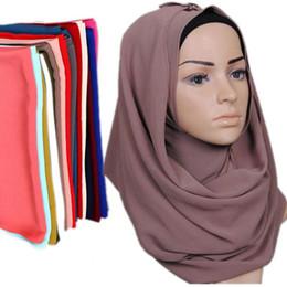 Canada 78 Couleurs Musulman Bandanas Pour Les Femmes 2019 Marque Nouvelle Mode Dame Écharpes Wraps National Malaisie Plaine En Mousseline De Soie Hijabs En Gros LSF095 Offre