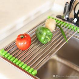 Lavandino lavandino online-Lavello da cucina? Stendino Scolapiatti pieghevole in acciaio inossidabile Scaffale multifunzionale per il filtro del serbatoio di lavaggio del piatto di frutta e verdura