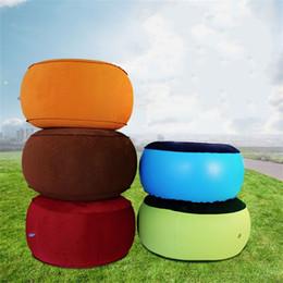 Almofadas de fezes on-line-Ao ar livre Inflação Fezes Reunindo Acampamento Cadeira Do Carro Macio Almofada Respirável Portátil Picnic Laranja Azul Verde Manter Aquecido 22kz D1