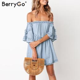 b96c8638d422 BerryGo Off arruffato spalla donne abiti mini abito Elegante lino in cotone  sciolto abiti Vintage estate femminile plus size abiti sconti vestiti da  estate ...