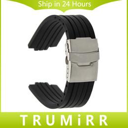 2019 силиконовые наручные браслеты оптом 23 мм 24 мм x 9 мм 10 мм 11 мм выпуклые часы группа силиконовой резины ремешок из нержавеющей стали безопасности пряжки ремешок браслет