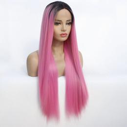 peruca rosa escura em linha reta Desconto Raízes escuras Ombre Rosa Cor Vermelha Longa De Seda Do Cabelo Em Linha Reta Peruca Dianteira Do Laço Sintético Perucas Resistente Ao Calor Cabelo Sintético Peruca Do Laço Parte Do Meio